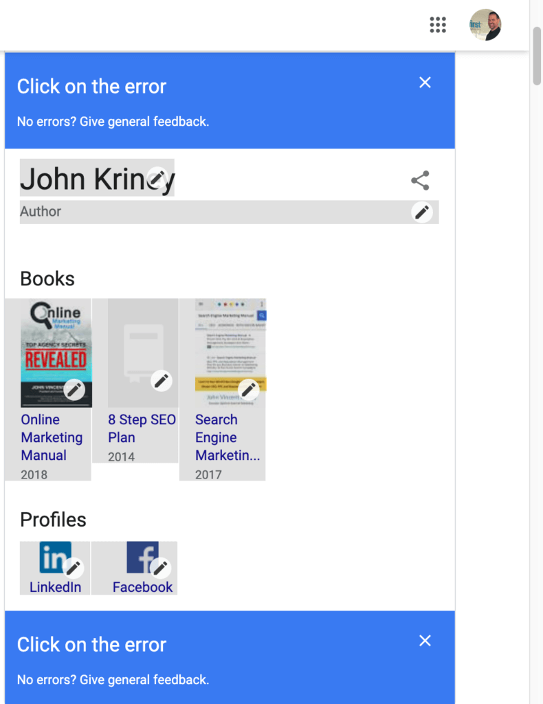 Information that is editable in the Google Knowledge Panel